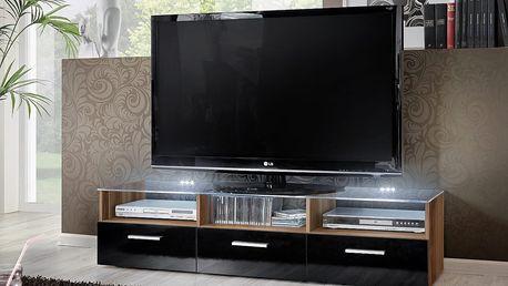 RTV stolek FRESH, švestka/černý lesk
