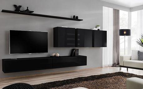Obývací stěna SWITCH VII, černá matná/černý lesk