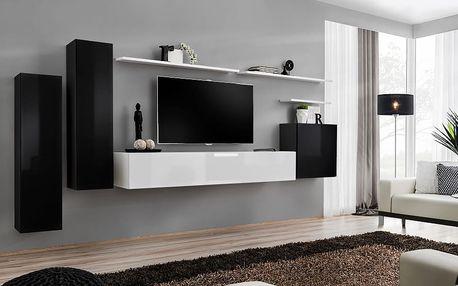 Obývací stěna SWITCH I, černá a bílá matná/černý a bílý lesk