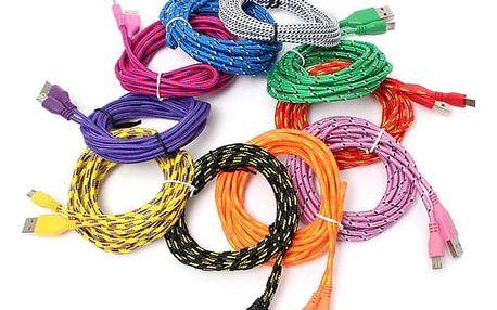 Textilní micro USB kabel 3 m - více barev