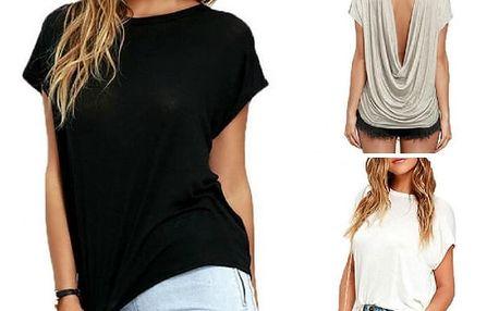 Dámské tričko s výstřihem na zádech Sandra