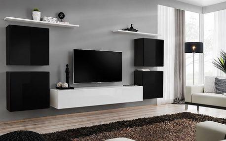 Obývací stěna SWITCH IV, černá a bílá matná/černý a bílý lesk