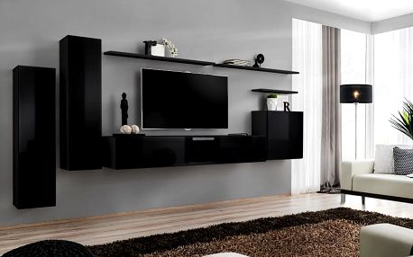 Obývací stěna SWITCH I, černá matná/černý lesk