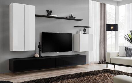 Obývací stěna SWITCH II, bílá a černá matná/bílý a černý lesk