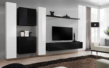 Obývací stěna SWITCH VI, bílá a černá matná/bílý a černý lesk
