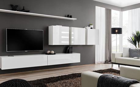 Obývací stěna SWITCH VII, bílá matná/bílý lesk