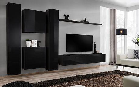Obývací stěna SWITCH VI, černá matná/černý lesk