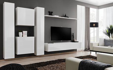 Obývací stěna SWITCH VI, bílá matná/bílý lesk