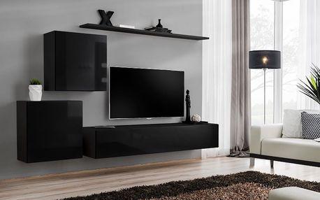 Obývací stěna SWITCH V, černá matná/černý lesk