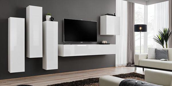 Obývací stěna SWITCH III, bílá matná/bílý lesk