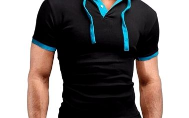 Pánské módní tričko s kapucí a knoflíčky