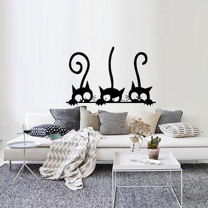 Samolepka na zeď 20 x 30 cm - Tři zvědavé kočičky