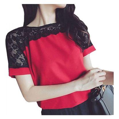 Elegantní dámská halenka s krajkou a krátkým rukávem - mix barev