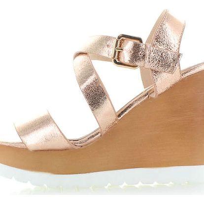 Růžovo-zlaté platformové sandály Nellos