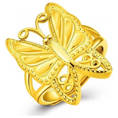 Prstýnek s motýlkem ve zlaté barvě