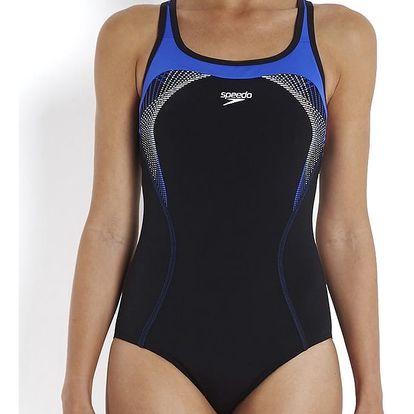Dámské plavky Speedo Fit Kickback, jednodílné, černo-fialové