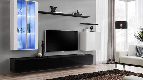 Obývací stěna SWITCH XII, bílá a černá matná/bílý a černý lesk