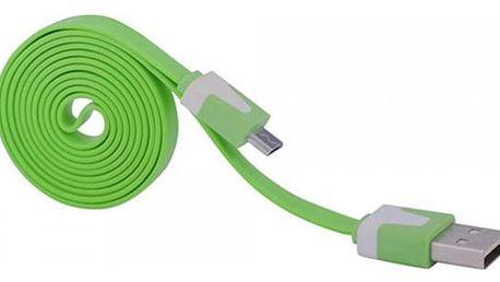Plochý barevný USB a micro USB kabel v různých délkách