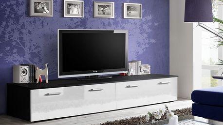 RTV stolek DUO, černá matná/bílý lesk