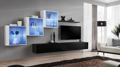 Obývací stěna SWITCH XX, bílá a černá matná/bílý a černý lesk