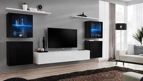 Obývací stěna SWITCH XIV, černá a bílá matná/černý a bílý lesk