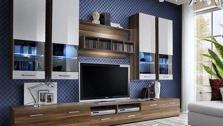 Obývací stěna DORADE, švestka/švestka a bílý lesk