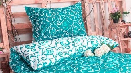XPOSE ® Prodloužené bavlněné povlečení ELIZABETH - tyrkysová 140x220, 70x90