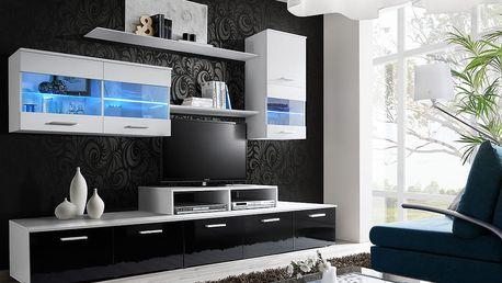 Obývací stěna LOGO II, bílá matná/bílá matná a černý lesk