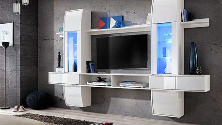 Obývací stěna COMET I, bílá matná/bílý lesk