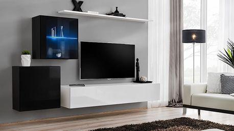 Obývací stěna SWITCH XV, černá a bílá matná/černý a bílý lesk