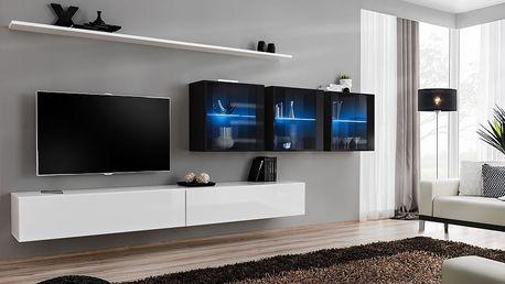 Obývací stěna SWITCH XVII, bílá a černá matná/bílý a černý lesk