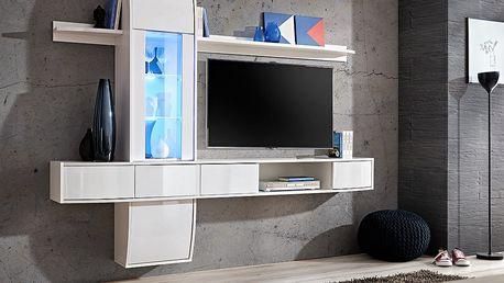 Obývací stěna COMET II, bílá matná/bílý lesk