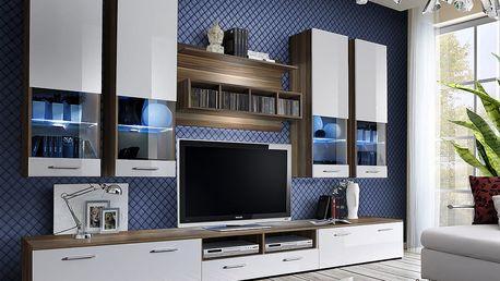 Obývací stěna DORADE, švestka/bílý lesk