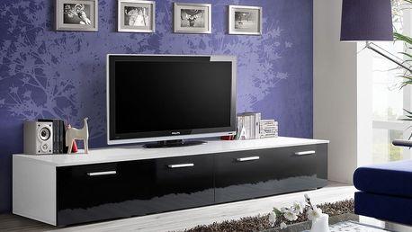 RTV stolek DUO, bílá matná/černý lesk