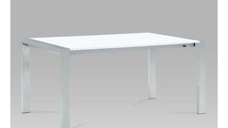 Jídelní stůl rozkládací 165+45x90 cm, nerez / vysoký lesk bílý