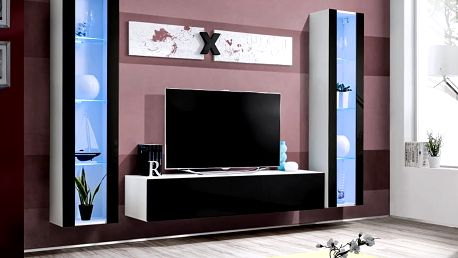 Obývací stěna AIR A2, bílá matná/černý lesk