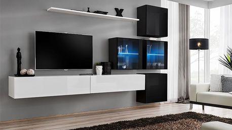 Obývací stěna SWITCH XIX, bílá a černá matná/bílý a černý lesk