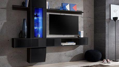 Obývací stěna COMET II, černá matná/černý lesk