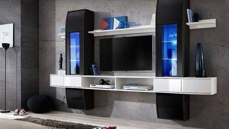 Obývací stěna COMET I, černá a bílá matná/černý a bílý lesk