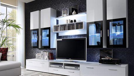 Obývací stěna LYRA, bílá matná/bílý lesk