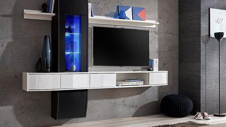 Obývací stěna COMET II, černá a bílá matná/černý a bílý lesk