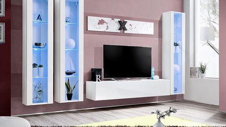 Obývací stěna AIR C2, bílá matná/bílý lesk