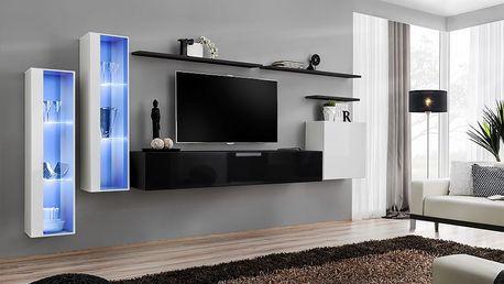 Obývací stěna SWITCH XI, bílá a černá matná/bílý a černý lesk