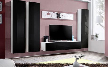 Obývací stěna AIR C1, bílá matná/černý lesk