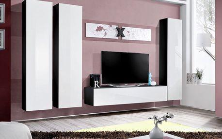 Obývací stěna AIR C1, černá matná/bílý lesk