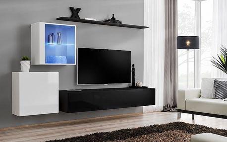 Obývací stěna SWITCH XV, bílá a černá matná/bílý a černý lesk