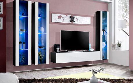 Obývací stěna AIR C2, černá matná/bílý lesk