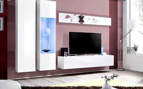 Obývací stěna AIR A5, bílá matná/bílý lesk