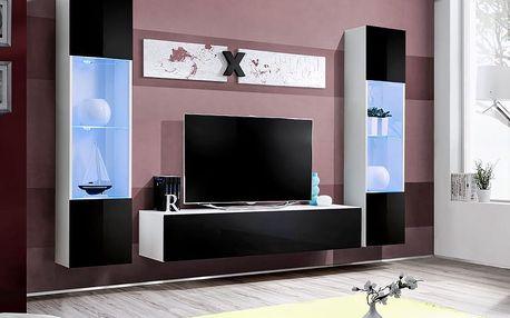Obývací stěna AIR A3, bílá matná/černý lesk