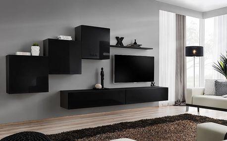 Obývací stěna SWITCH X, černá matná/černý lesk